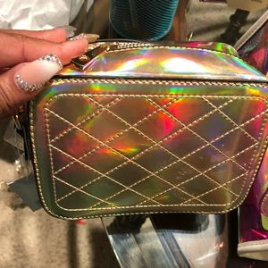 Cross body gold purse